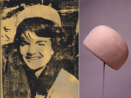 Andy Warhol, Jackie, 1964, Above right: Halston, for Bergdorf Goodman, Pillbox Hat, early 60s