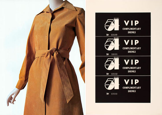 Above left: Halston, Dress, 1972, Ultrasuede. Above right: Andy Warhol, Studio 54 Complimentary Drink Invitation, ca. 1978
