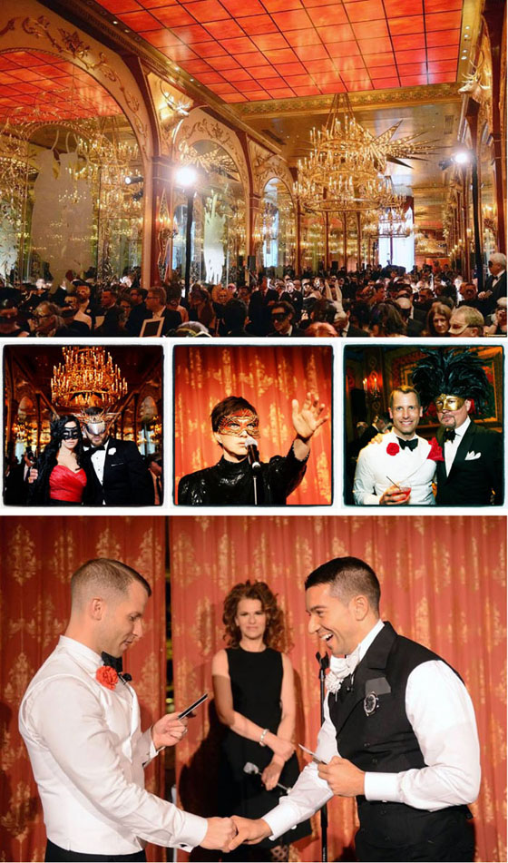 The Russian Tea Room ballroom as cathedral; masked guests; Billie Ray Martin; Bradford and myself; Bradford and Georgi exchange vows