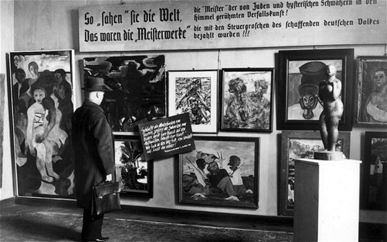 "Hitler's ""Degenerate Art"" exhibit toured the country and was seen by hundreds of thousands of Germans"