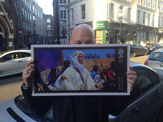 Me with the new Peter O'Toole stamp outside The Garrick