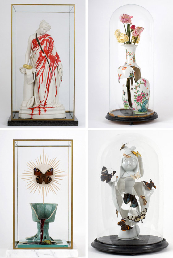 Clytemnestra, 2010. 19th century; Rose vase 2, 2010. 18th century Chinese famile; Transubstantiation, 2010. 19th century Chinese stoneware goblet; Madama butterfly, 2010. 20th century Arita porcelain figure
