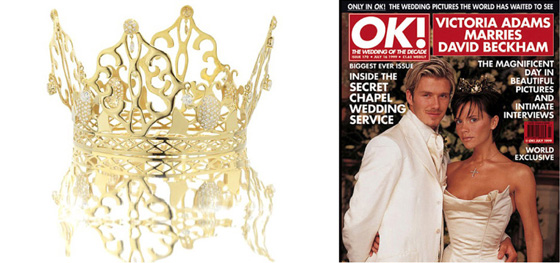 The wedding crown of Posh & Becks, as they were known