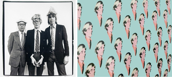 Bob Colacello, Andy Warhol, and Christopher Murray in Hats, by Paul Weiss; Andy wall screen print by Richard Bernstein