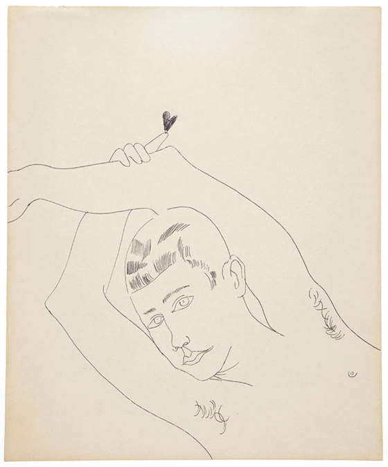Young Man with Heart, black ballpoint pen on paper, 16 3/4 x 13 7/8 in., 1956, est: $8,000-$12,000