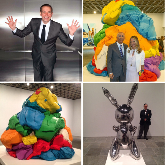 Jeff Koons; Bill and Maria Bell, with their 'Play-Doh' sculpture moments after seeing it for the first time, photos by Todd Eberle; play-dough sculpture; Koons' iconic stainless steel bunny with guard