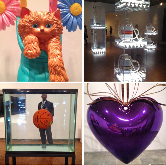 Koons kitty; early work in a vacuum; Eqilibrium with guard; Koons Purple Heart (there are 5 of these at $25 million each)