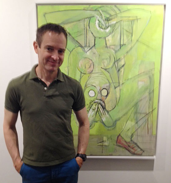 Calvin Seibert with Mike Cockrill's work