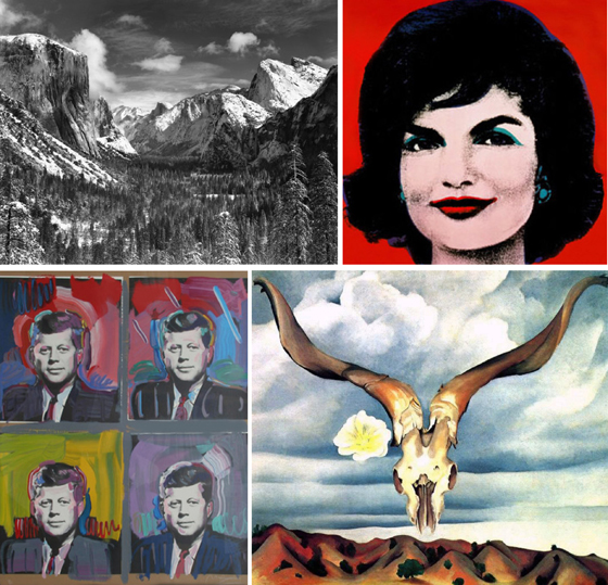 Ansel Adams, Andy Warhol, Peter Max, Georgia O'Keefe