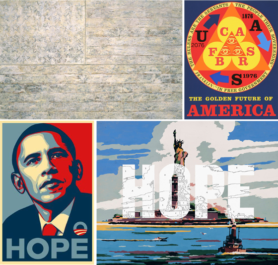 Jasper Johns, Robert Indiana, Shepard Fairey, Trey Speegle