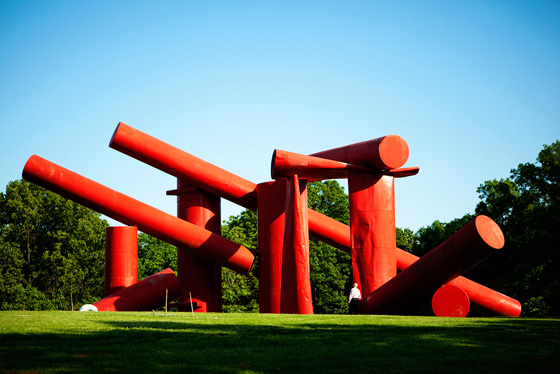 The Way, '72-80, salvaged steel oil tanks assembled on site at the Laumeier Sculpture Park