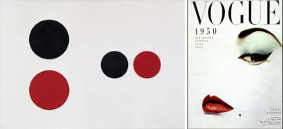 A Liberman painting juxtaposed with a Blumenfeld cover during his tenure at Vogue