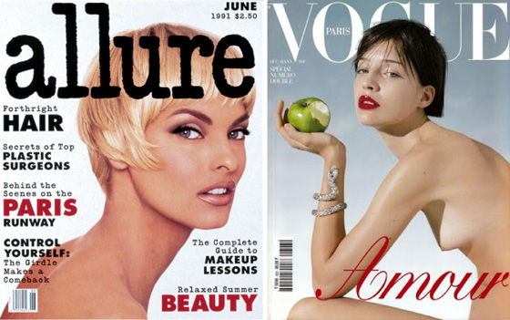 A Lucy Sisman Allure cover, '92 and a '99 cover from Joan Buck's tenure as editor-in-chief of Paris Vogue