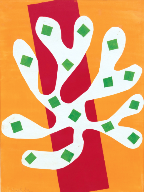 """White Alga on Orange and Red Background"", 1947"