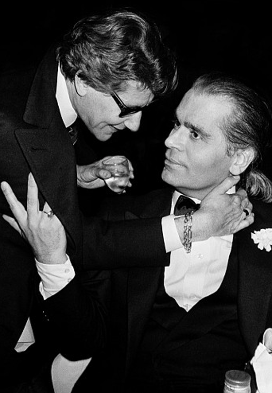 """Tate a Tete"" Yves Saint Laurent, Karl Lagerfeld La Palace 5th Anniversary, Paris, 1993"