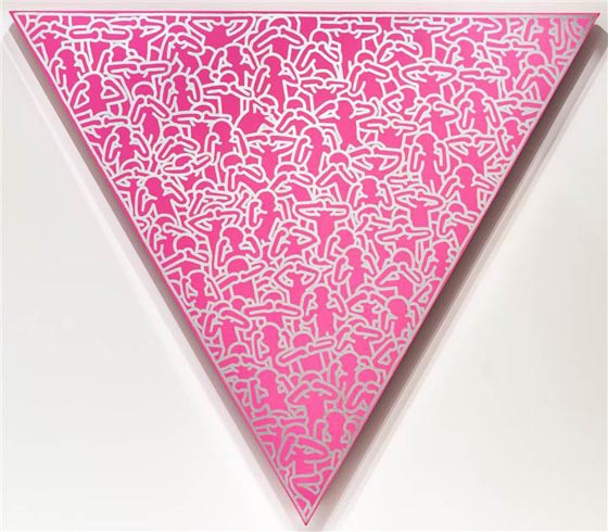 he pink triangle was sewn on to homosexual Jews concentration camp uniforms