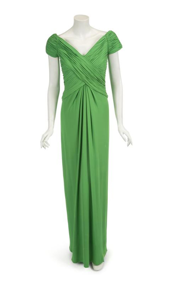 HRH PRINCESS DIANA CATHERINE WALKER CHARTREUSE SILK GOWN, EST, $60-80,000