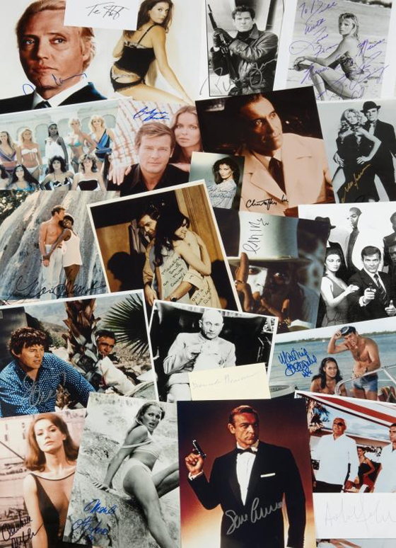 JAMES BOND SIGNATURE FROM EVERY BOND FILM (150 ITEMS) EST. $4-8,000