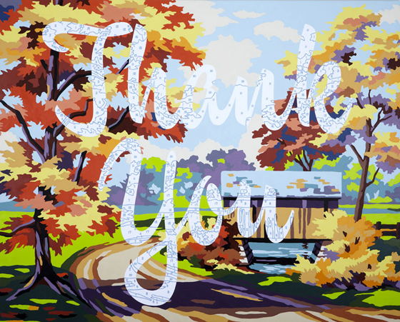 Trey Speegle, Thank You, 2010, 48 x 60:, archival pigment, acrylic paint on canvas, private collection