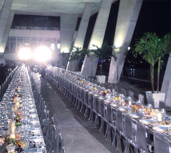 The dinner set-up. Looks like what? 500 chairs?