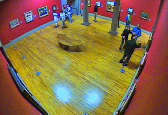 Museum surveillance camera catching the *sshole in the act