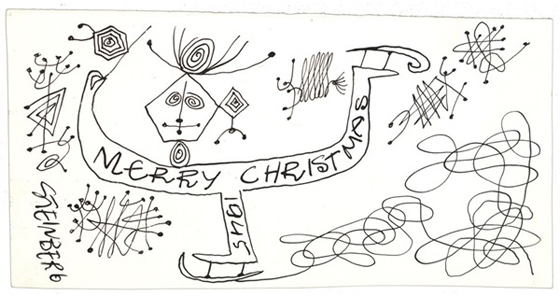 Saul Steinberg sent this card to curator Dorothy Miller in 1945.
