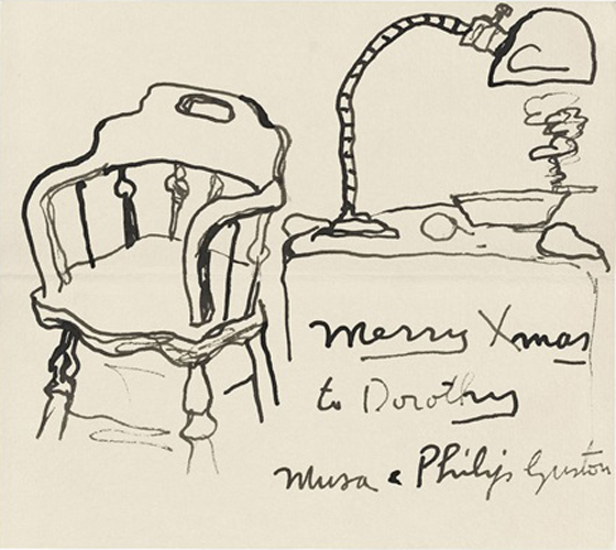 Philip Guston send this card to Dorothy Miller in the early 1970s.