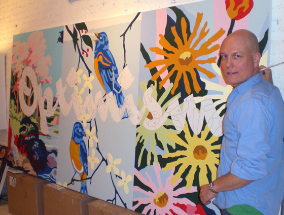 Painting Optimism in the studio, 2010