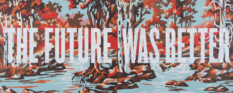 "Trey Speegle, The Future was Better, 2012, 48 x 120"", archival pigment, house paint on canvas"