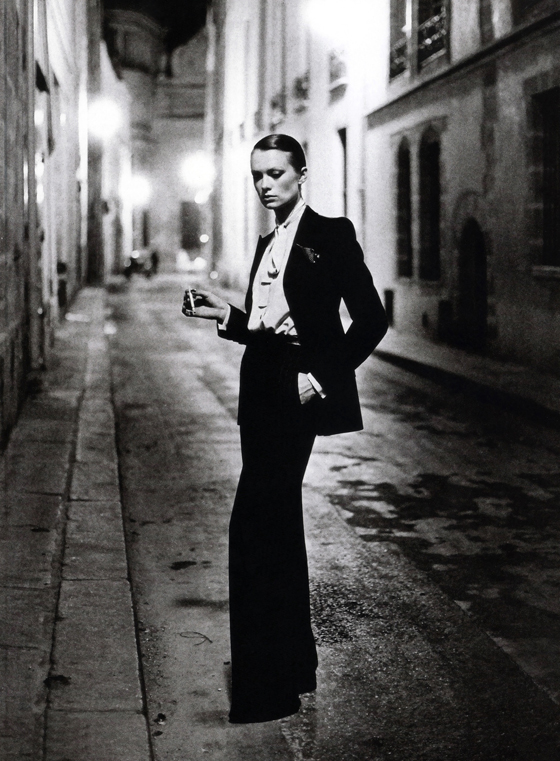 Helmut Newton, 1975, Le Smoking, suit by Yves Saint Laurent, shot for French Vogue