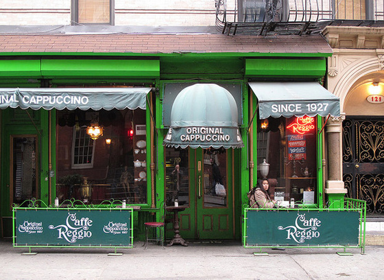 CAFÉ REGGIO – The first place to sell cappuccino in the US in the 20s & it has its original espresso machine that owner Domenico Parisi bought in '27.