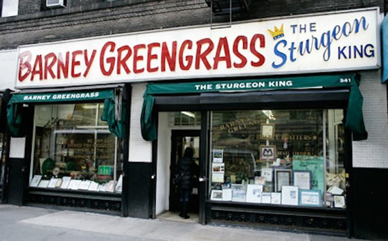 BARNEY'S GREENGRASS – Yes, yet another Jewish deli on the list, this one open since 1908. It's famous for whitefish, pickled herring, nova lox, and – as advertised – sturgeon.