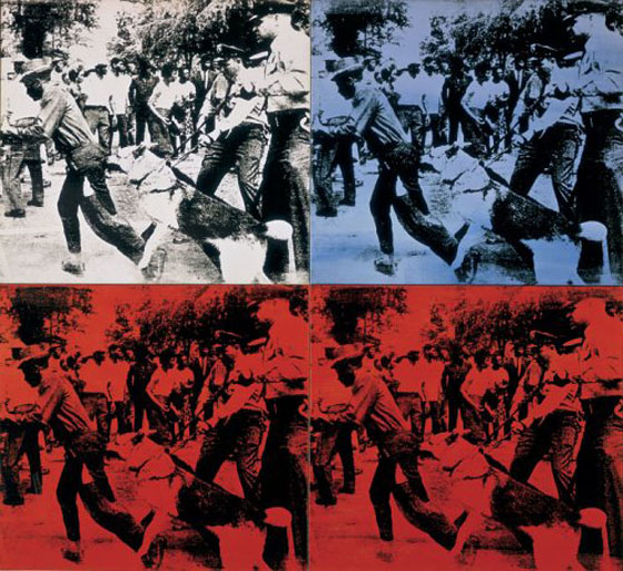 Race Riot by Andy Warhol,1964. It fetched $62,885,000 at Christie's in New York on 13 May 2014. Original photo by Charles Moore for Life.