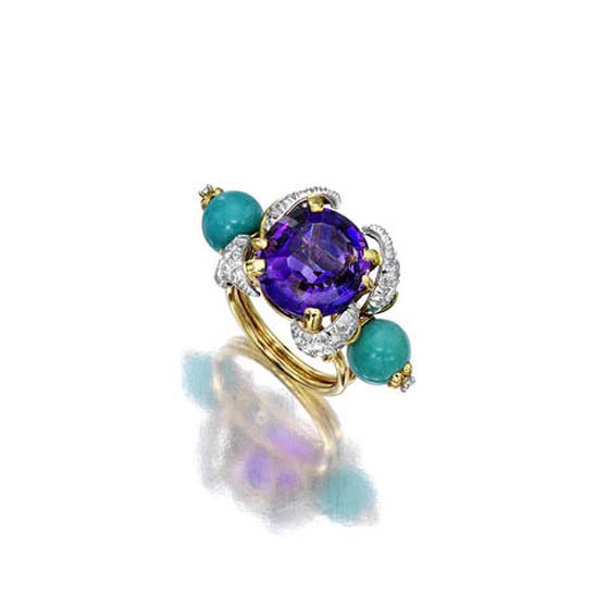 AMETHYST, TURQUOISE AND DIAMOND RING, Jean Schlumberger – est. $8,000 – 12,000