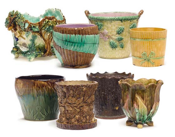SEVEN MAJOLICA JARDINIÈRES AND A STONEWARE JARDINIÈRE   LATE 19TH/EARLY 20TH CENTURY – est. $1,000 – 1,500