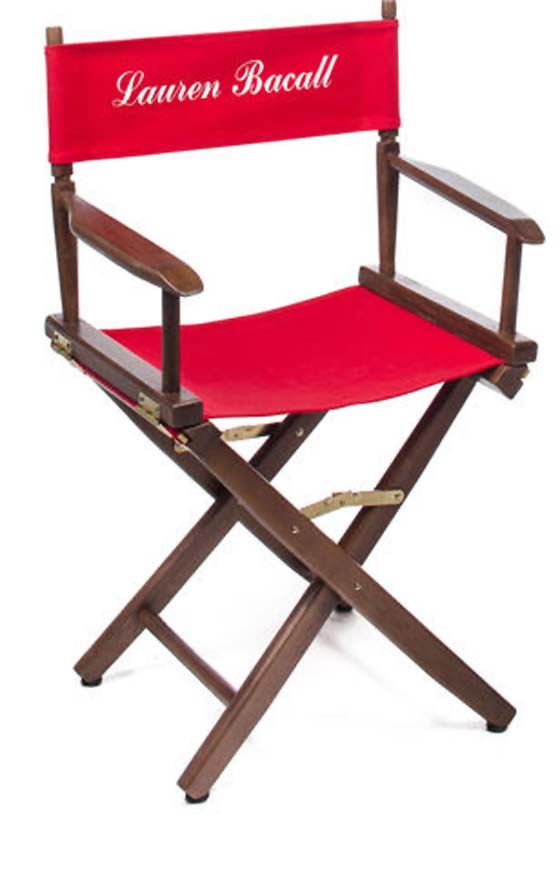 LAUREN BACALL, DIRECTOR'S CHAIR – est. $200 – 300
