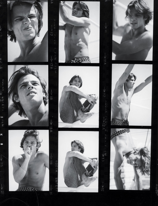 """The actor Hiram Keller on the island of Mykonos, 1970s """"Hiram was the most beautiful male animal ever. He starred in Fellini's 'Satyricon,' and when it came out in 1969, Hiram rivaled Nureyev as the most desirable creature of the period. He whisked me off to Mykonos for a romantic weekend, which is where the photos were taken. Hiram was bisexual, and had affairs with people that I can never reveal. Years later, he died young. Sad. But I'm glad to have this photographic memory of him."""""""
