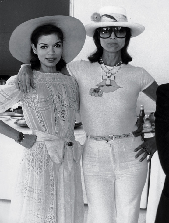 """Bianca Jagger and Elsa Martinelli in St.-Tropez, mid-1970s """"Bianca and Elsa both had strong and dominant personalities. They were extremely competitive with other women and each other — I gave them both a wide berth. At this moment, Bianca was married to Mick, whom she wed in St.-Tropez in 1971. Elsa was married to her longtime husband, the photographer Willy Rizzo."""""""
