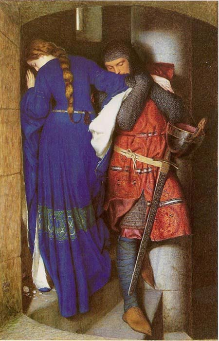 Frederic William Burton,   Hellelil and Hildebrand, The Meeting on the Turret Stairs  (1864).