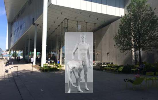 """The Whitney Museums's plaza as of this morning, with Charles Ray's rejected sculpture sculpture """"ghosted in""""… not sure of the placement, exactly, but you get the idea."""