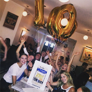 Bernstein celebrating hitting 1 million Instagram followers with friends in NYC