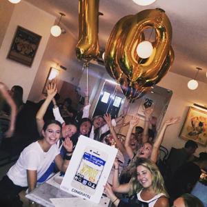 Bernstein celebrating hitting 1 million Instagram followers with friends in NYC