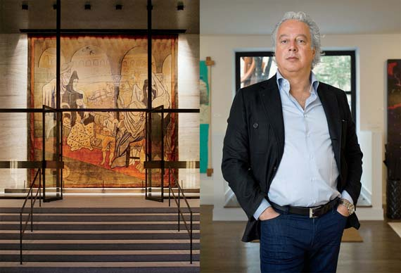 Aby Rosen in front of the Seagram's Building and the Picasso tapestry he had removed from the lobby