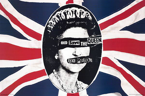 "Album artwork for seminal Sex Pistols album ""God Save the Queen"", design by Jamie Reed"