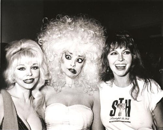 Angelyne, Nina Hagen & Cassandra Peterson (Elvira) wearing an STH shirt