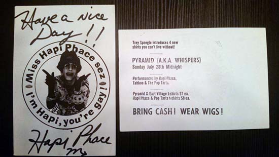 My Hapi Phace t-shirt postcard/Whisper promo postcard. (Note the performers include The Pop Tarts, aka Wow's Fenton Bailey & Randy Barbato!)