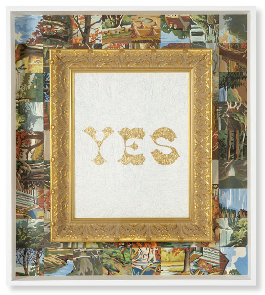 Trey Speegle, Yes (Golden Days), 2007, 34 x 38″ acrylic on vintage paint by number panel in shadow box with gold-leaf, collection of Jason Mraz