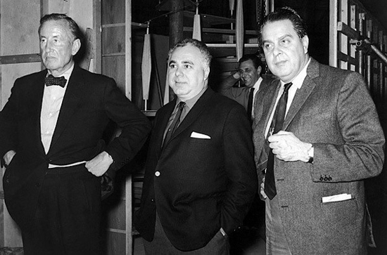 "Left to right, Ian Fleming, Harry Saltzman and Albert R. ""Cubby"" Broccoli."