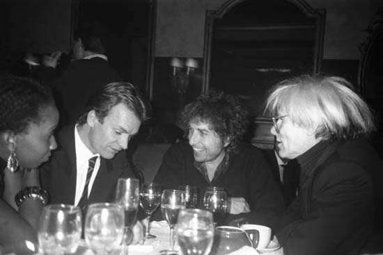 Sting, Bob Dylan And Andy Warhol, New York City, 1986