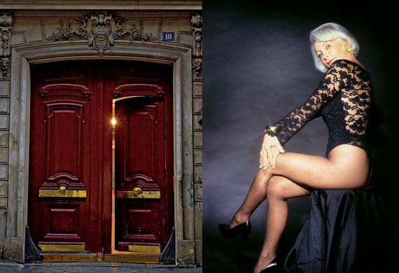 Right, Madame Claude, at age 73, in a 1996 photo shoot. Left, the door to Madame Claude's former residence at 18 Rue de Marignan, in Paris.
